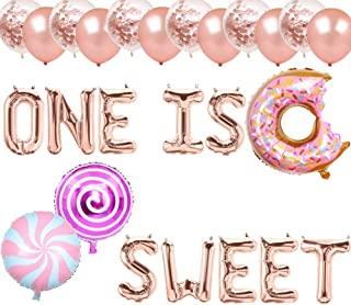 One is Sweet Balloons, Sweet One Banners, Donut Grow Up/Sweet Candy/Child Donut Lollipops Themed 1st Birthday Party Supplies Decorations