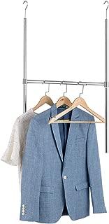 Bextsware Adjustable Durable Closet Hanger Rod, Over The Door Clothes Garment Organizer Rack,Chrome