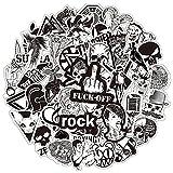 AXHZL Pegatina en Blanco y Negro Horror Cool Skeleton Rock Sticker Equipaje Laptop Bicicleta Motocicleta Laptop Toy Sticker Set 50 Uds