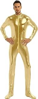 winying Mens Shiny Metallic Round Neck Long Sleeves Closed Toe Full Body Leotard Bodysuit Zentai Jumpsuit Clubwear