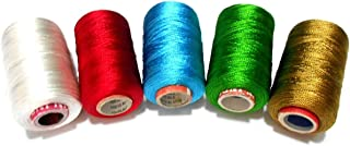 GOELX Silk Thread for Jewelery-Making 5 Spools - White,Red,Turquoise Blue,Green,Golden