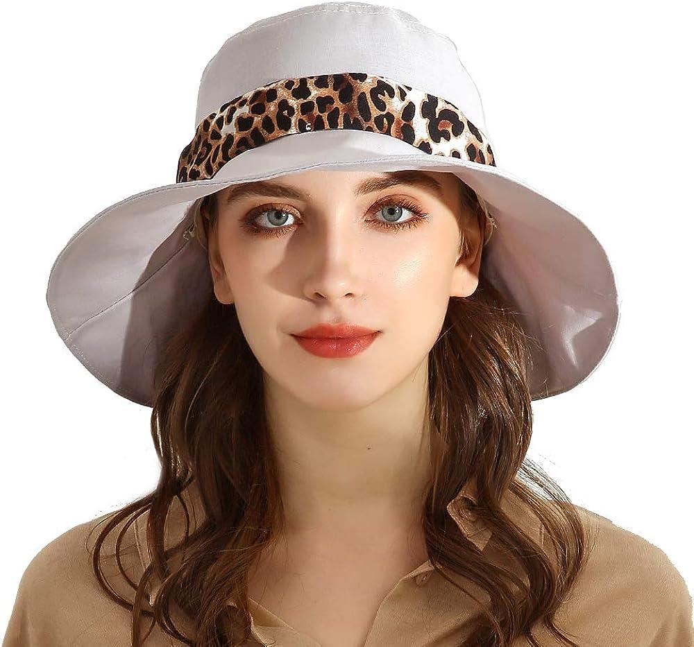URSFUR Women Sun Bucket Hat with Bow, UPF50+ Sun Protection Cotton Wide Brim Beach Hat Storage