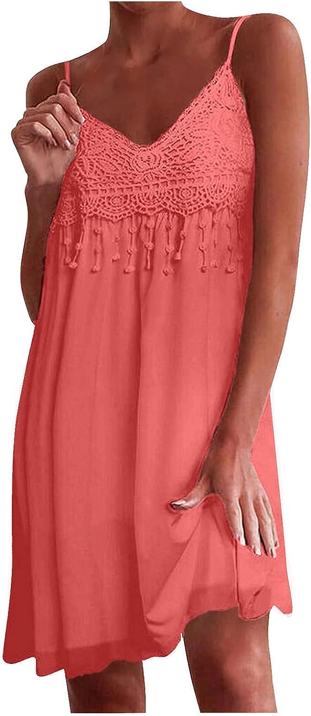 Women's Summer V Neck Wrap Vintage Split Belted Flowy Boho Beach Long Dress