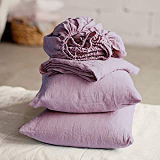 Merryfeel Linen Sheet Set,Luxurious 100% Pure French Linen Bedding Sheet Set,4 Pieces,Deep Pocket - King - Mauve