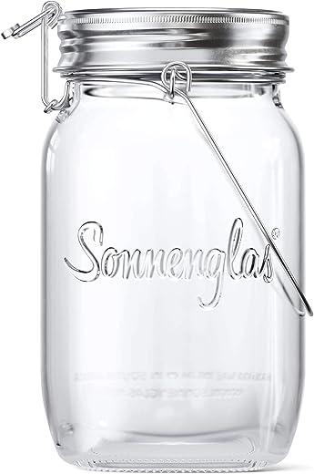 SONNENGLAS Classic 1000ml | Die Original Solarlampe/Solar-Laterne im Einmachglas aus Südafrika (inkl. USB Ladefunktion) | warmweiß | Fair Trade |...