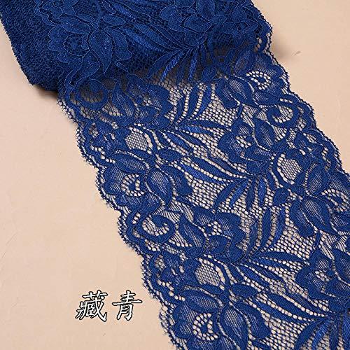 ASADVE Näh- Und Stoffspitze 15 cm Breite Florale Spitzenbesatz Handgefertigte Unterwäsche Kleid Kleidung Spitzenmaterial Do-It-Yourself-Kleidung-Navy Blau