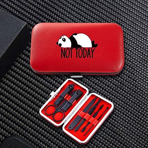 DNAMAZ Maniküre Lustiger Panda 7pcs Maniküre-Nagel-Scherer-Sets bewegliche Spielraum Edelstahl Trimmer Clippers Cutter Schere Werkzeug-Zubehör nagelset (Color : 8631 red)