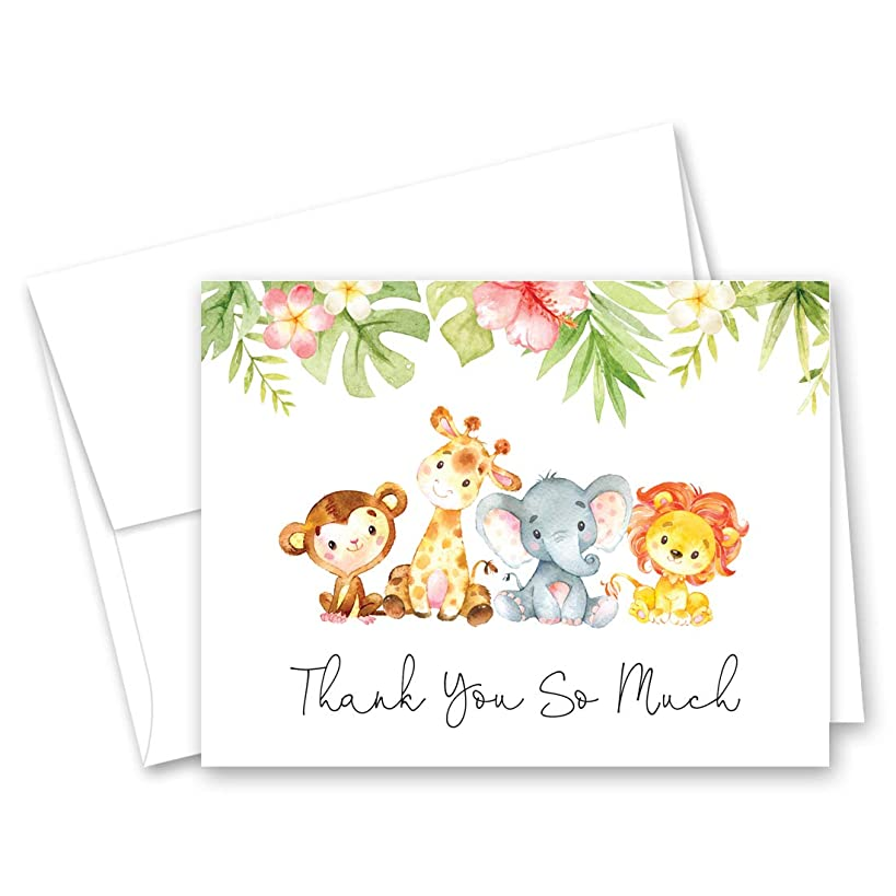Jungle Animals Baby Shower Thank You Cards - Set of 50