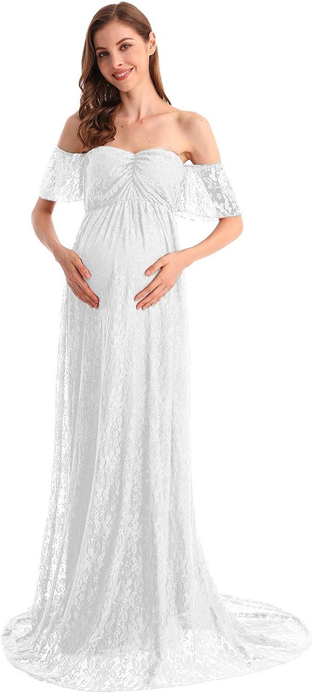 高級品 HIHCBF Women Bohemian Lace Dress Maternity Wedding Off-Shoulder 買収