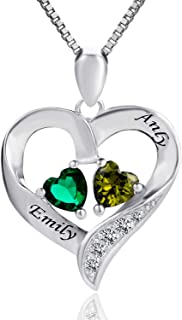 925 Sterling Silver Personalized 2 Heart Simulated...