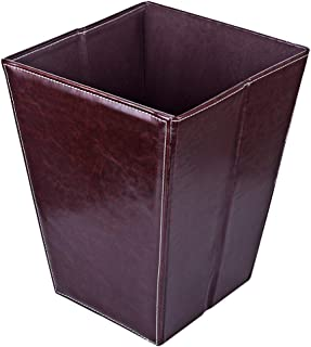 WOLFBUSH 12L/3.2 Gallon Folding Square Leather Trash Can Waste Paper Basket Waterproof Garbage Can for Bathroom, Kitchen, Office and Hotel - Coffee