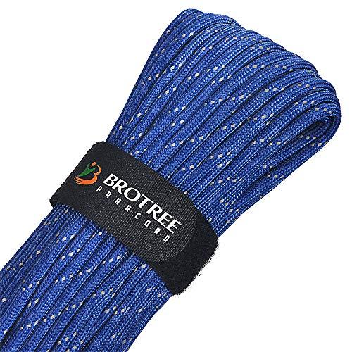 Brotree Paracord 550 - Cuerda de paracaídas (9 Cuerdas, Nailon, 280 kg, Resistencia a la Rotura (estándar, Reflectante), Reflektierende Blau, 31 Meters