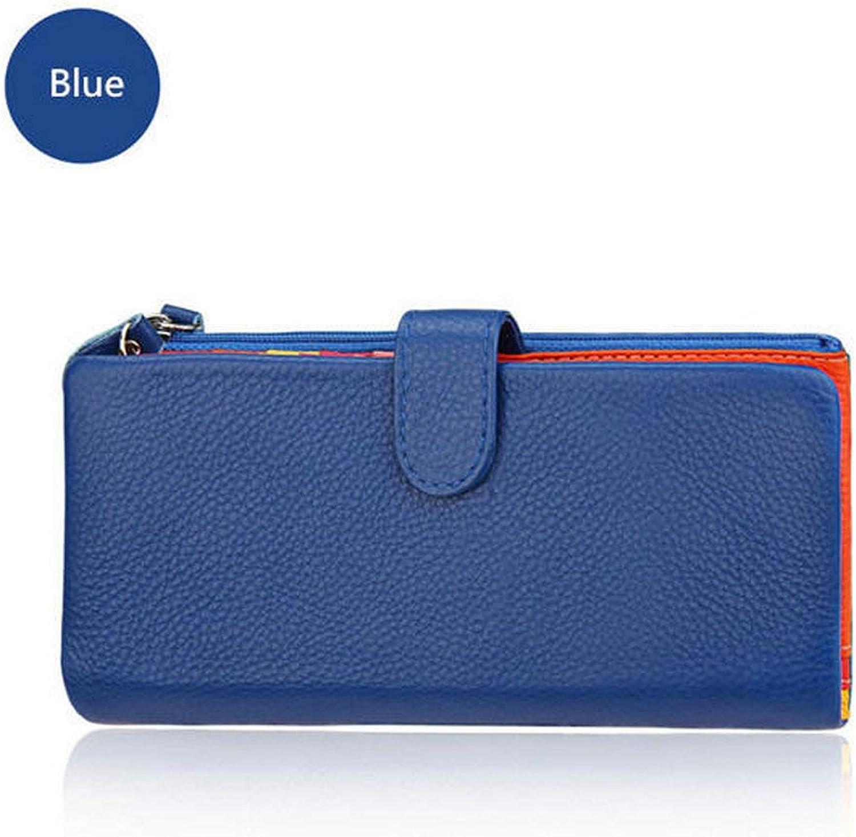 ACHKL Women Cowhide Genuine Leather Long Wallet 22 Card Holder Hasp Purse Coin Bags 5.5'' Phone Wallet ACHKL (color   color bluee)