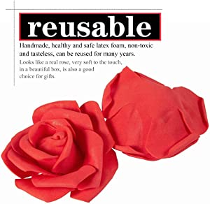 Artificial Flowers Roses Real Touch simulation Touch Foam Artificial Roses for DIY Marry Wedding Bouquets Bridesmaid Bridal Bouquets Centerpieces Party Decoration Baby Shower Home Decor (Red 30Pcs)