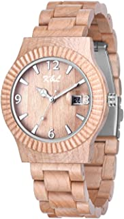 K&L Wood Watches – All-Natural Wood Watches – Fashionable Wooden Wristwatches – Perfect Men's & Women's Accessory – Luxury Wooden Unisex Watch with Carved Wooden Gift Box