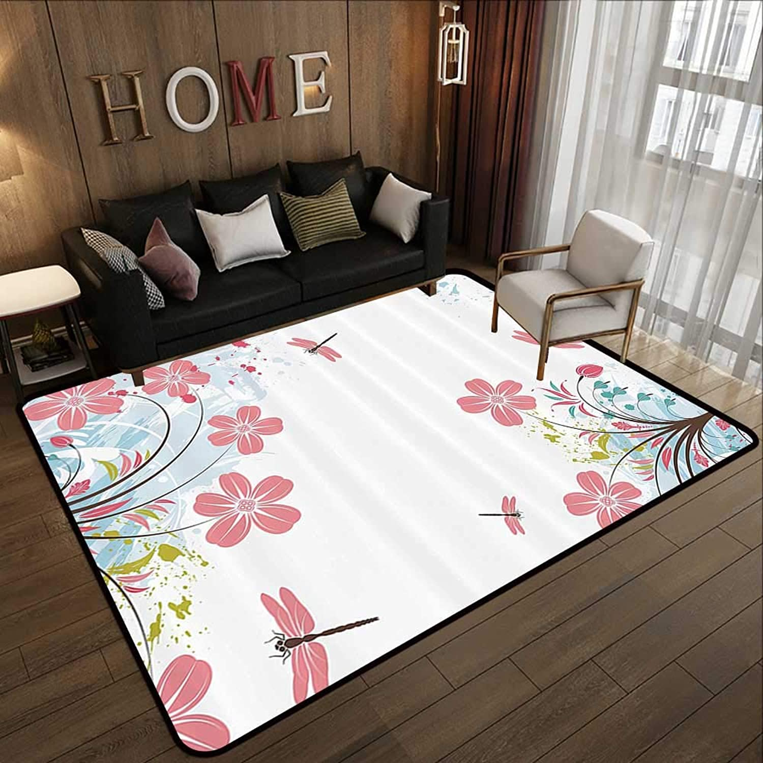Carpet mat,Country Decor Collection,Dragonflies and Flower Field Spring Season Inspirational Natural Ecological Life Theme,Pink blue 47 x 59  Floor Mat Entrance Doormat