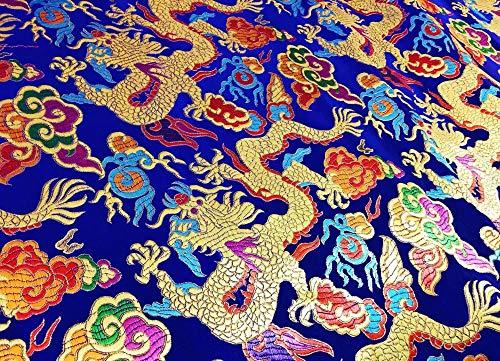 Hoogwaardig Simulatie Zijde Brocade Stof Chinese Stijl Jurk Draak Bloem Oude Kostuum Hanfu Cheongsam Doek Blauw
