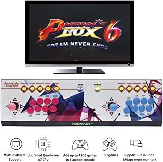 WISAMIC Real Pandora's Box 6 Arcade Game Console - Add Additional Games, Support 3D Games, with Full HD, Games Classification, Upgraded CPU, Support PS3 PC TV 2 Players, No Games Included (8 Buttons)
