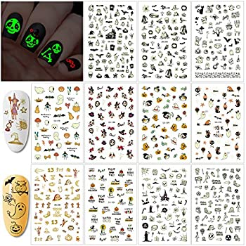 Konsait 450+pcs Glow in The Dark Halloween Nail Sticker Peel and Halloween Self-Adhesive Nail Decals Pumpkin Monster Nail Art for Kids Halloween Party Supplies Trick or Treat Party Bag Fillers