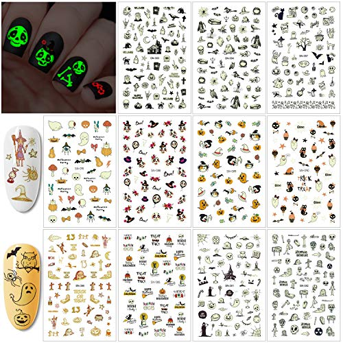 Konsait 450+pcs Glow in The Dark Halloween Nail Sticker Peel and Halloween Self-Adhesive Nail Decals, Pumpkin Monster Nail Art for Kids Halloween Party Supplies Trick or Treat Party Bag Fillers