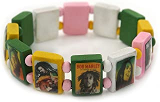 Multicoloured Bob Marley One Love Wooden Stretch Bracelet - up to 20cm Length