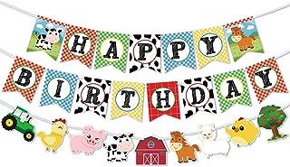 WERNNSAI Farm Animals Birthday Banner - Happy Birthday Banner with Tractor Barnyard Bunting Garland for Kids Boys Girls Fa...
