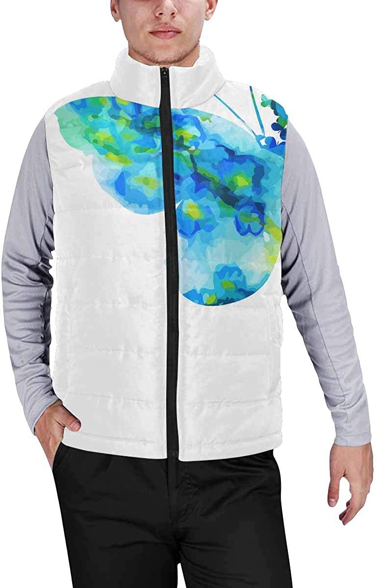 InterestPrint Men's Lightweight Outwear Vest for Hiking, Fishing Serenity Beach