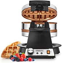 CRUX Double Rotating Belgian Waffle Maker with Nonstick Plates, Stainless Steel Housing & Browning Control