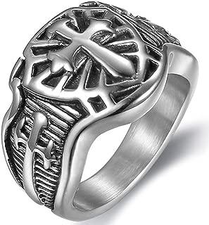 Stainless Steel Crusader Sword Cross Medieval Shield Ring