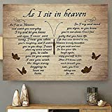 Butterflies Vintage Canvas Wall Art Canvas As I Sit in Heaven and Watch You Everyday Poem Painting on Canvas Wooden Background Rustic Inspirational Quotes Wall Art Paintings Quotes Poem Room Decoration For Living Room Kitch Wall Hanging Paintings No Frame (16' x 24')