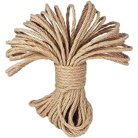 LUOOV - Cuerda 100% natural de cáñamo, 6 mm de grosor, soga fuerte de yute, cuerda para camping, jardines, barcos, juegos de guerra, mascotas, cuerda ...