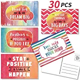 Watercolor Postcard Positive Postcards from Teachers to Students, Inspirational Postcards Encouragement Themed Blank Quote Cards, Motivational Note Cards for Classroom Teaching Supplies, 30 Cards
