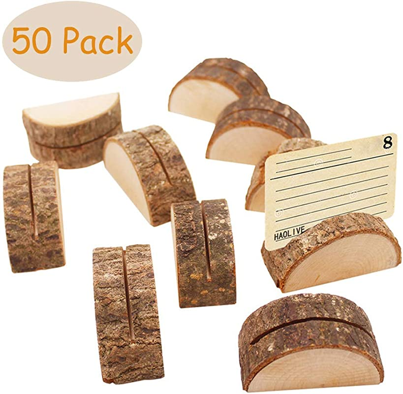 Aimyoo Wooden Card Holders Rustic Real Wood Table Number Stands Picture Memo Clip Note Photo Clip For Home Party Decoration Wedding Favors Pack Of 50