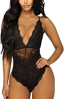 2d4444163f0 Aranmei Women Deep V Sexy Lace Bodysuit Snap Crotch Lingerie Teddy Underwear