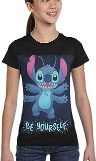 guoweiweiB Camisetas de Manga Corta para niño, Lilo and Stitch Be Yourself Crewneck T-Shirt for Girls