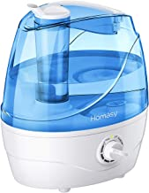 Homasy Cool Mist Humidifier, 28dB Whisper-Quiet Humidifier for Bedroom, Easy to Clean and Control Air Humidifier, Auto Shut-Off, 24H Work Time, Blue