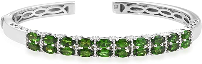Cuff Bangle Bracelet 925 Sterling Silver Platinum Plated Oval Chrome Diopside Jewelry for Women Gift Size 7.25