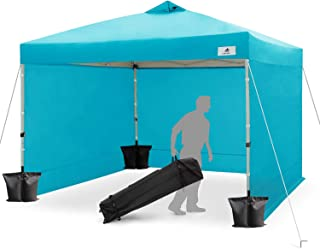 Finfree 10x10 FT Compact Ez Pop up Canopy Tent Outdoor, Folding Canopy Tent, Instant Canopy with 5 Walls and Wheeled Carry Bag, Cyan