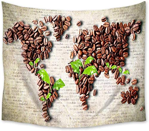 Vintage Coffee Beans Wall Hanging Wall Decor Wall Art Curtain Blanket Sheet Towel Throw Table Cloth Decorative Comfort Tapestry 60x40 Inch