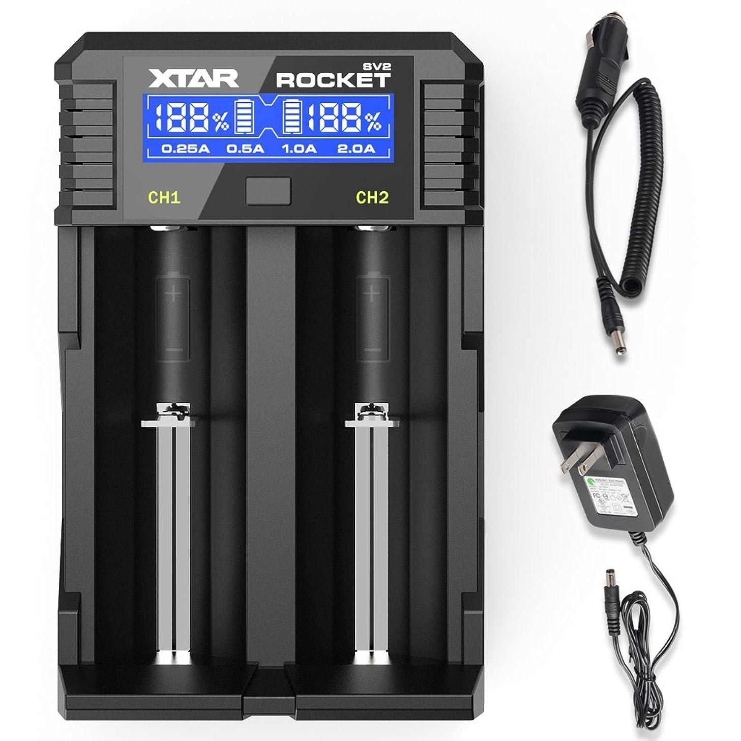 18650 Smart Fast Battery Charger, XTAR SV2 Universal Battery Charger Wall Adaptor & Car Charger Rechargeable Li-ion IMR INR ICR 18650 26650 20700 21700 22650, Ni-MH/Ni-Cd AAAA AAA AA A SC C D