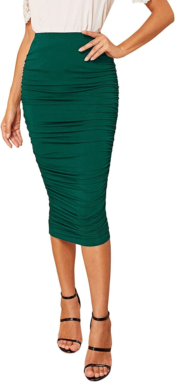 Milumia Women's Elegant High Waist Ruched Bodycon Skirt Work Office Midi Pencil Skirt
