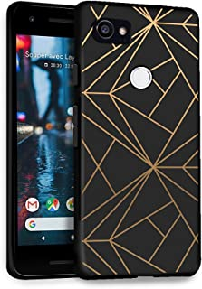 HelloGiftify Google Pixel 2 XL Case, Geometric Gold Black Soft Gel Protective Case for Google Pixel 2 XL