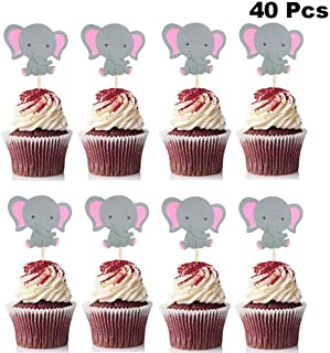 Finduat 40 Pieces Pink Elephant Cupcake Toppers for Girl Baby Shower Decorations Supplies