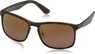 RB4264 Chromance Mirrored Square Sunglasses, Matte Tortoise/Polarized Purple Mirror, 58 mm