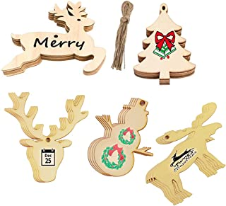 Uddiee Unfinished Christmas Wooden Ornaments Hanging Plaque Blank Wood Gift Tags Crafts DIY Unfinished Wood Slices with Holes, 20pcs