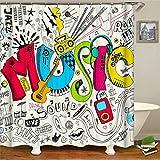 SLN Haus Dekoration. Musik. Verschiedene Instrumente. Duschvorhang: 180X180 cm. 12 C-Förmige Haken. 3D Hd Druck. Wasserdicht. Nicht Verblassen.