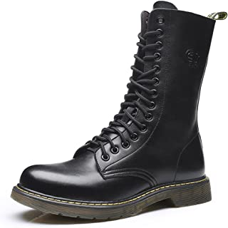 Vintage Military Boots Men High Genuine Leather Riding Boots Motorcycle Shoes Martin Long Boots