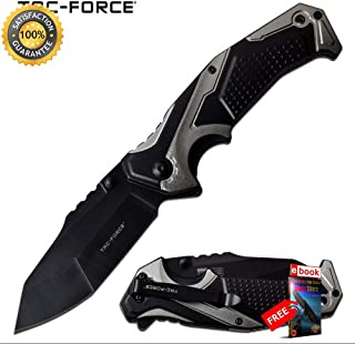 SPRING ASSISTED Folding Sharp KNIFE Tac-Force 3.5'' Black Blade EDC Tactical Gray Combat Tactical Knife + eBOOK by Moon Knives