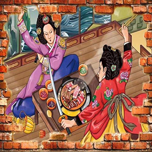 Vintage behang klassiek Koreaans restaurant grill keuken behang wandafbeelding 430 cm x 300 cm.