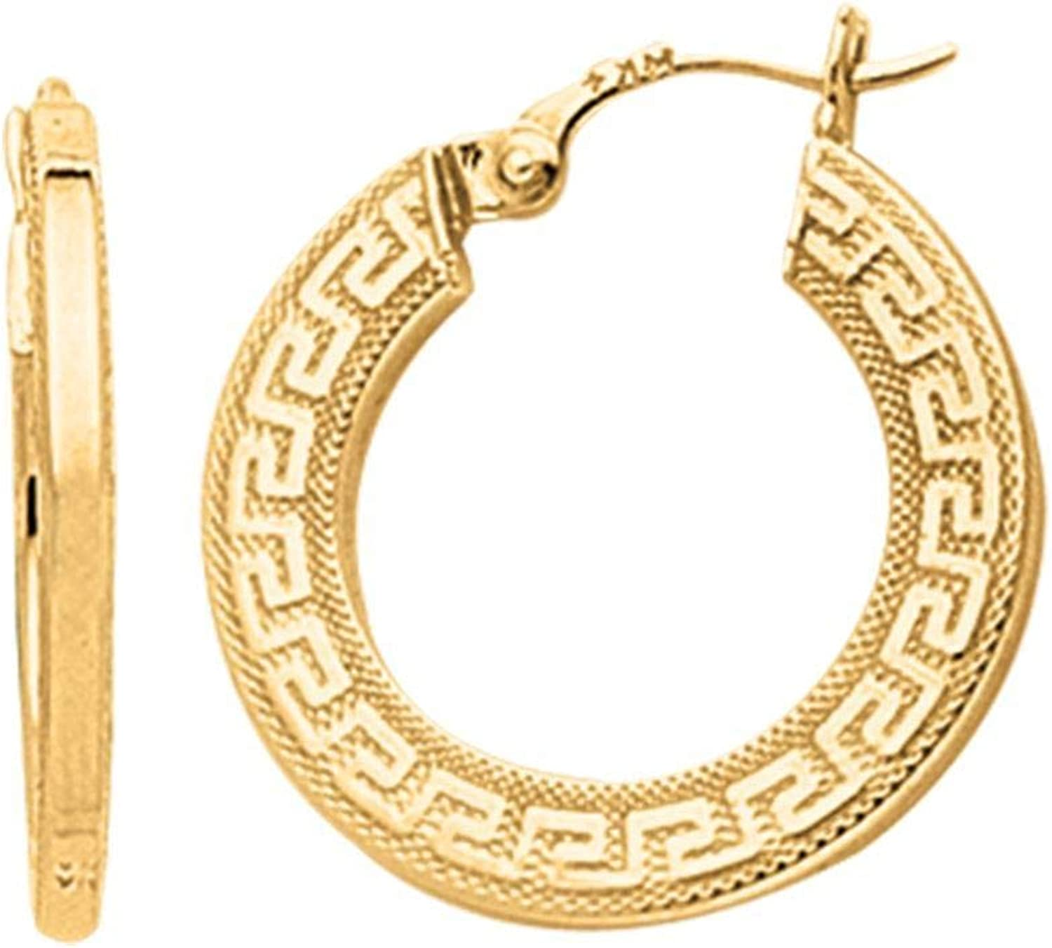 14K Yellow Gold Shiny Small Greek Key Textured Hoop Earring with Hinged Clasp